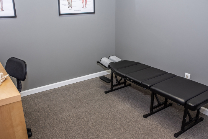 Black Chiropractor Table in Private Office
