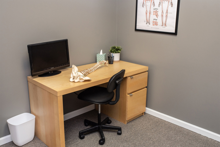 Desk with Spine in Private Office